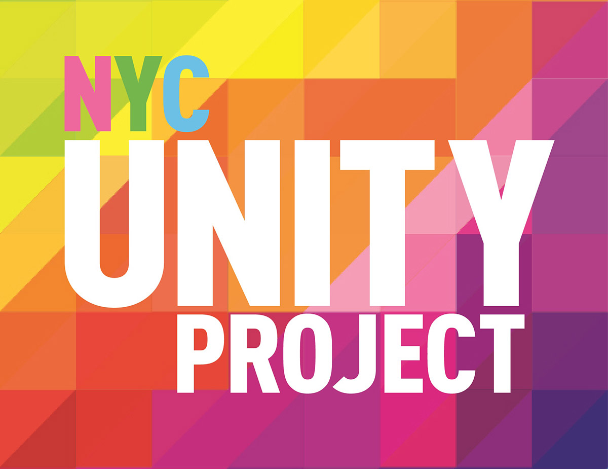 NYC Unity Project Logo with bright geometric pattern and text